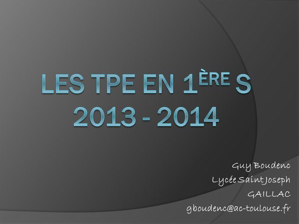 Guy Boudenc Lycée Saint Joseph GAILLAC gboudenc@ac-toulouse.fr