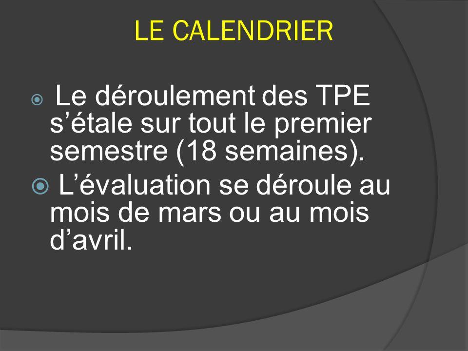 LE CALENDRIER Le déroulement des TPE sétale sur tout le premier semestre (18 semaines). Lévaluation se déroule au mois de mars ou au mois davril.
