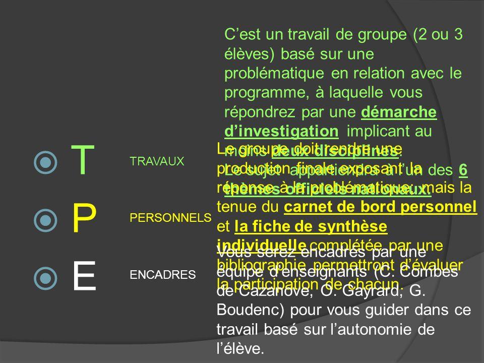 T P E TRAVAUX PERSONNELS ENCADRES Cest un travail de groupe (2 ou 3 élèves) basé sur une problématique en relation avec le programme, à laquelle vous