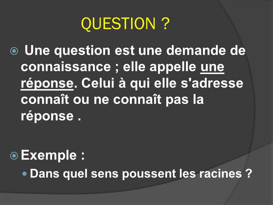 QUESTION ? Une question est une demande de connaissance ; elle appelle une réponse. Celui à qui elle s'adresse connaît ou ne connaît pas la réponse. E