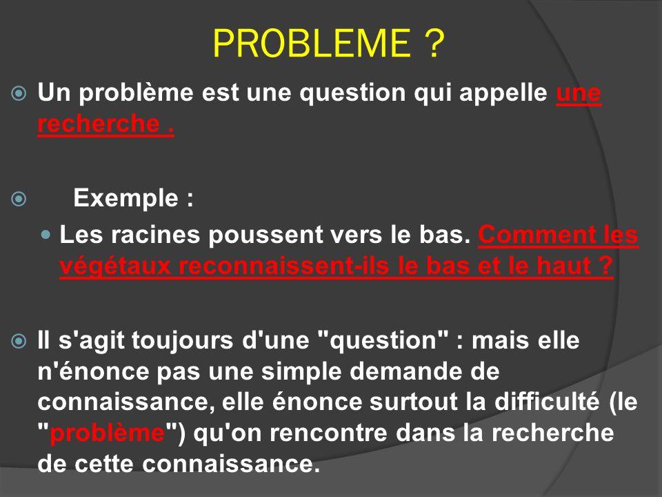 PROBLEME ? Un problème est une question qui appelle une recherche. Exemple : Les racines poussent vers le bas. Comment les végétaux reconnaissent-ils