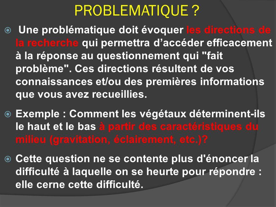PROBLEMATIQUE ? Une problématique doit évoquer les directions de la recherche qui permettra daccéder efficacement à la réponse au questionnement qui