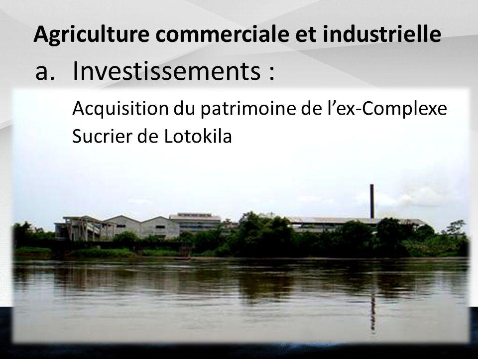 Agriculture commerciale et industrielle a.Investissements : Acquisition du patrimoine de lex-Complexe Sucrier de Lotokila