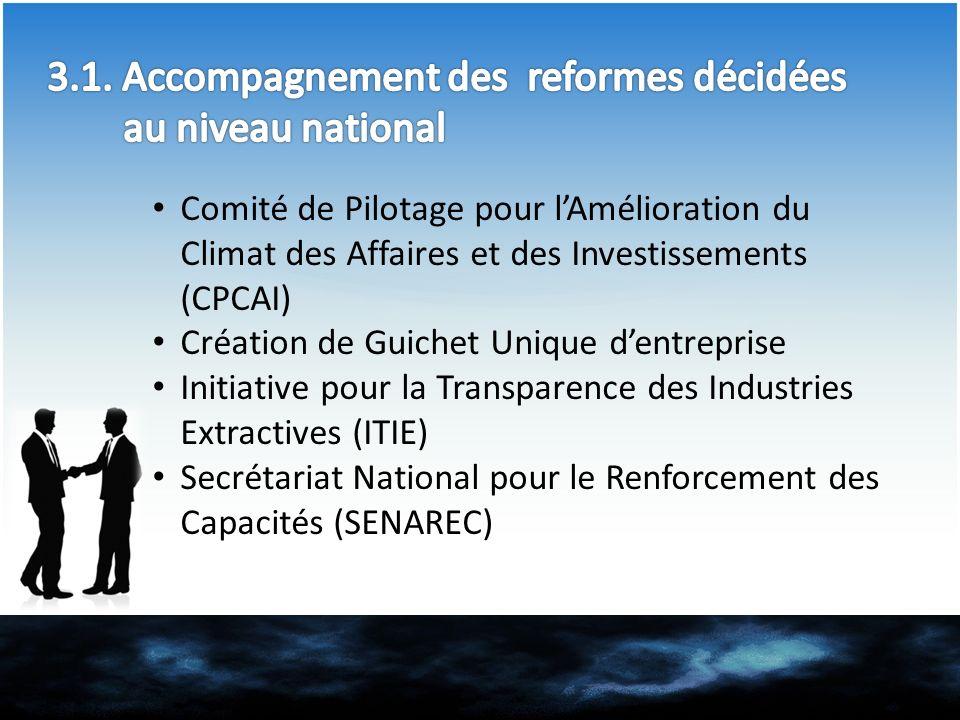 Comité de Pilotage pour lAmélioration du Climat des Affaires et des Investissements (CPCAI) Création de Guichet Unique dentreprise Initiative pour la