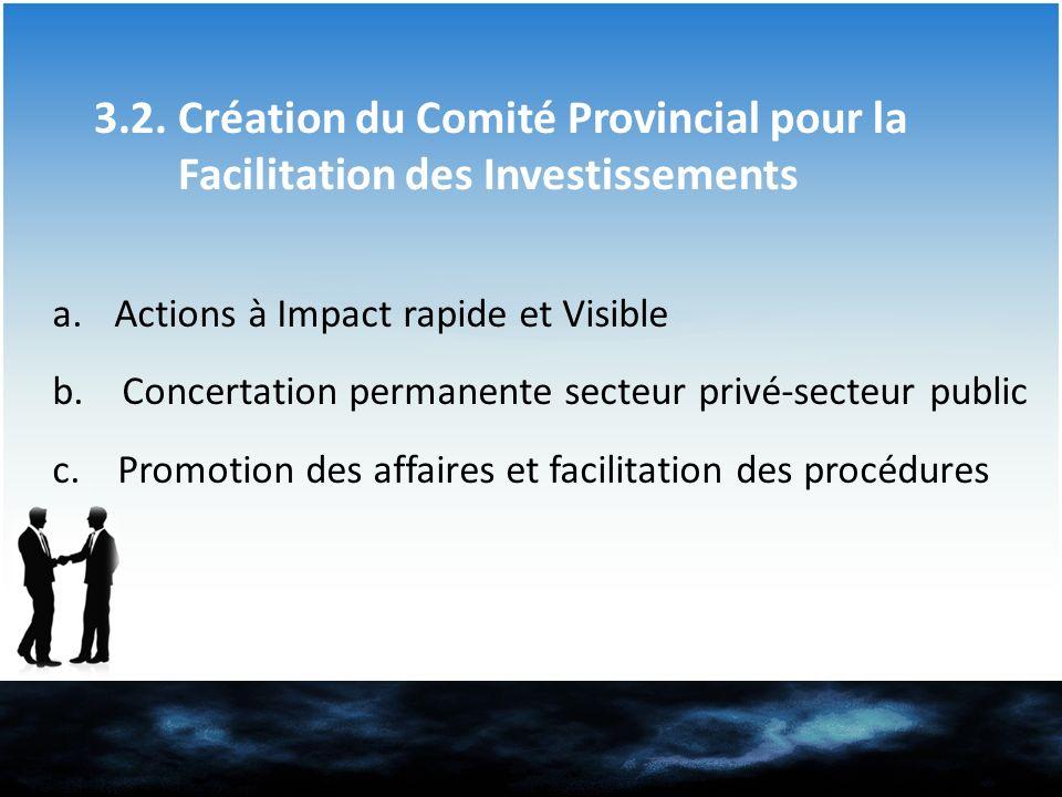 3.2. Création du Comité Provincial pour la Facilitation des Investissements a.Actions à Impact rapide et Visible b. Concertation permanente secteur pr