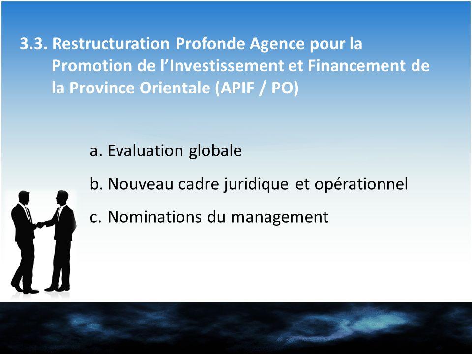 3.3. Restructuration Profonde Agence pour la Promotion de lInvestissement et Financement de la Province Orientale (APIF / PO) a.Evaluation globale b.N