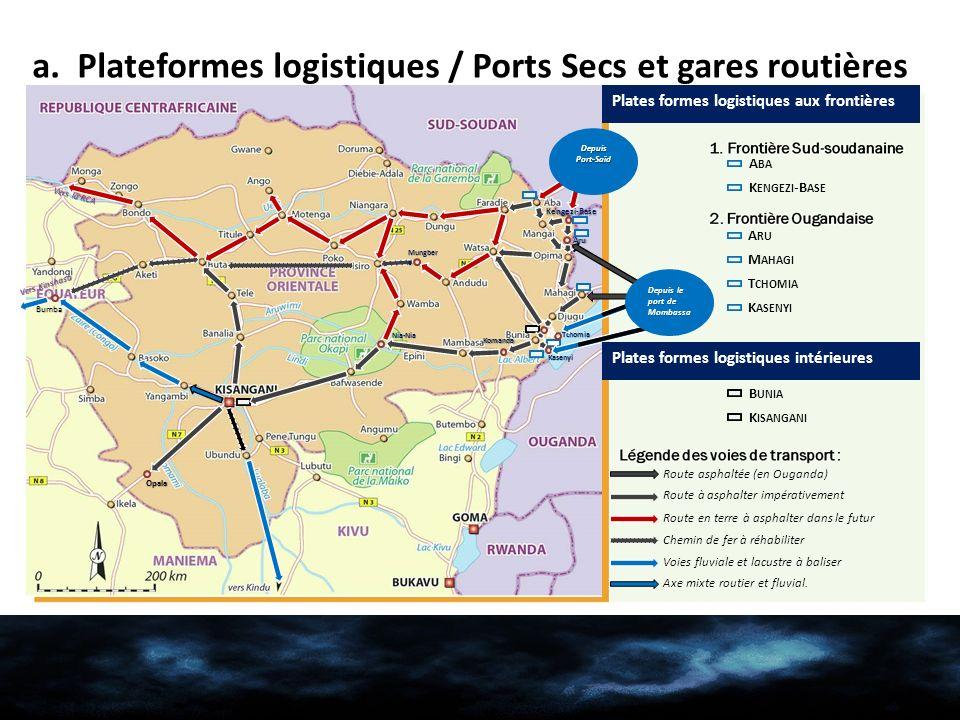 a. Plateformes logistiques / Ports Secs et gares routières Nia-Nia Komanda Kengezi-Base Aru Kasenyi Bumba Vers Kinshasa Vers la RCA Mungber e Tchomia