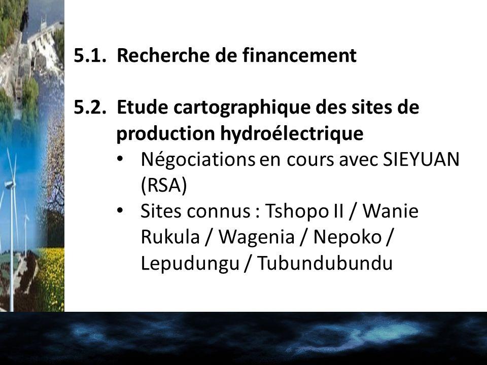 5.1. Recherche de financement 5.2. Etude cartographique des sites de production hydroélectrique Négociations en cours avec SIEYUAN (RSA) Sites connus