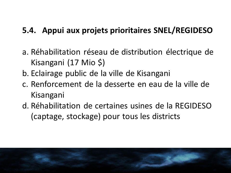 5.4. Appui aux projets prioritaires SNEL/REGIDESO a.Réhabilitation réseau de distribution électrique de Kisangani (17 Mio $) b.Eclairage public de la