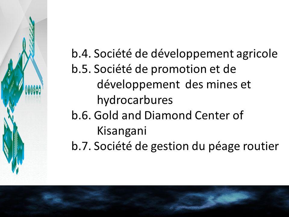 b.4. Société de développement agricole b.5. Société de promotion et de développement des mines et hydrocarbures b.6. Gold and Diamond Center of Kisang
