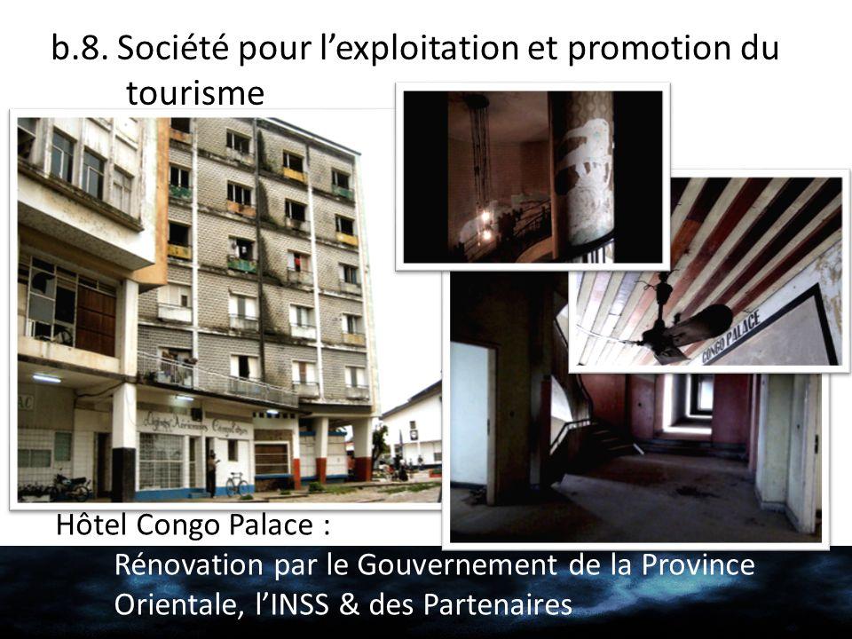 b.8. Société pour lexploitation et promotion du tourisme Hôtel Congo Palace : Rénovation par le Gouvernement de la Province Orientale, lINSS & des Par