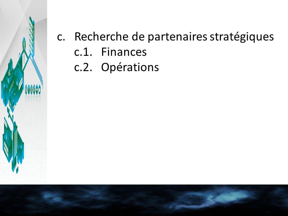 c. Recherche de partenaires stratégiques c.1. Finances c.2. Opérations