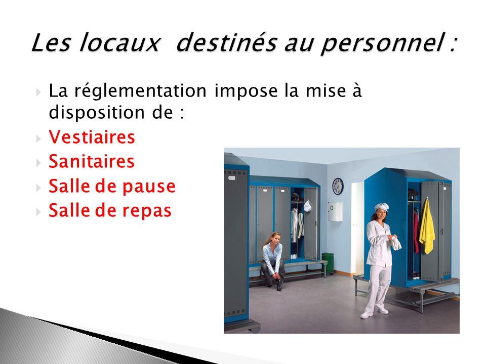 La réglementation impose la mise à disposition de : Vestiaires Sanitaires Salle de pause Salle de repas