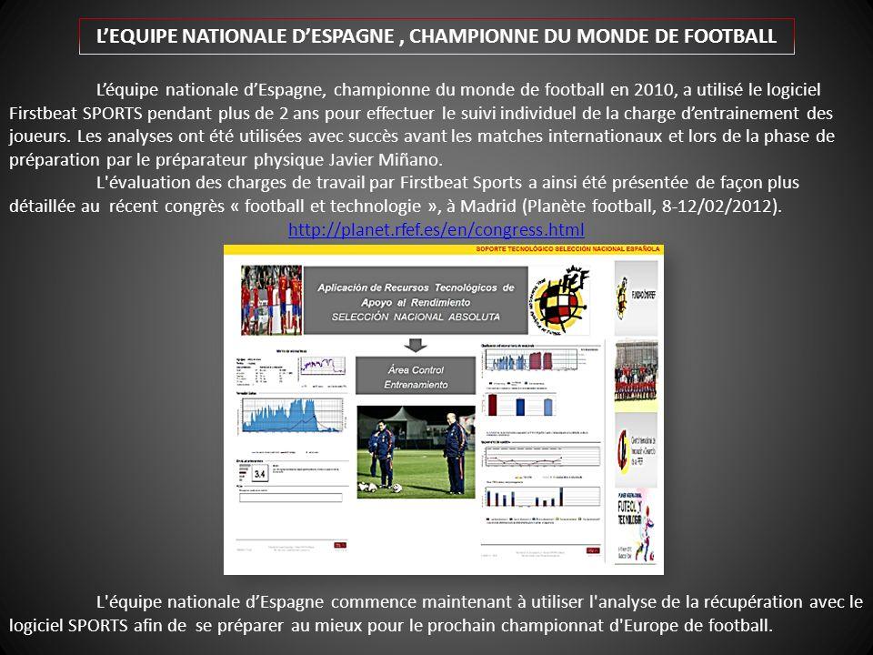 Léquipe nationale dEspagne, championne du monde de football en 2010, a utilisé le logiciel Firstbeat SPORTS pendant plus de 2 ans pour effectuer le suivi individuel de la charge dentrainement des joueurs.