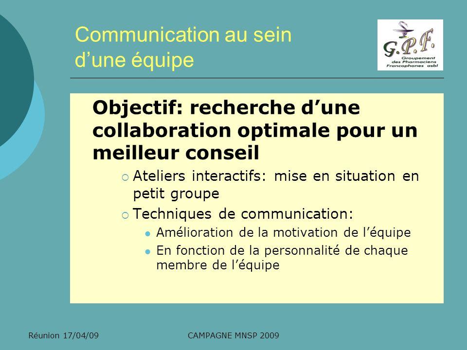 Réunion 17/04/09CAMPAGNE MNSP 2009 Communication au sein dune équipe Objectif: recherche dune collaboration optimale pour un meilleur conseil Ateliers