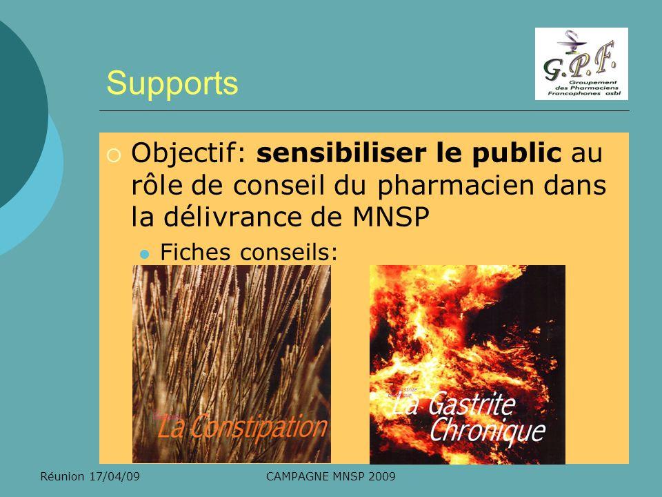 Réunion 17/04/09CAMPAGNE MNSP 2009 Supports Objectif: sensibiliser le public au rôle de conseil du pharmacien dans la délivrance de MNSP Fiches consei