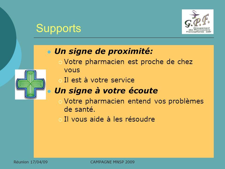 Réunion 17/04/09CAMPAGNE MNSP 2009 Supports Un signe de proximité: Votre pharmacien est proche de chez vous Il est à votre service Un signe à votre éc