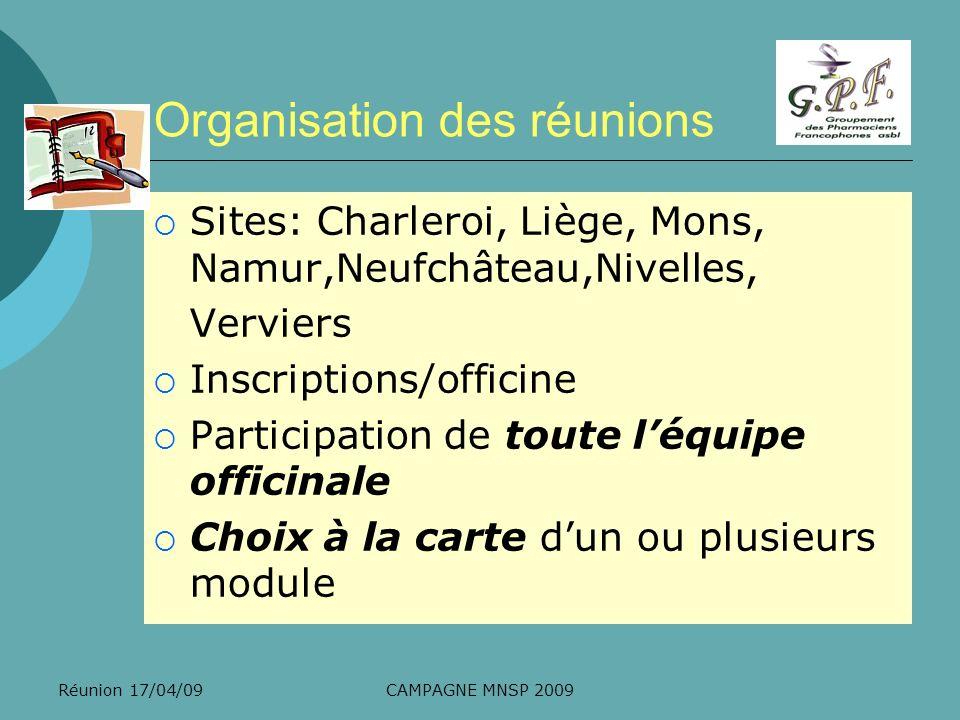 Réunion 17/04/09CAMPAGNE MNSP 2009 Organisation des réunions Sites: Charleroi, Liège, Mons, Namur,Neufchâteau,Nivelles, Verviers Inscriptions/officine