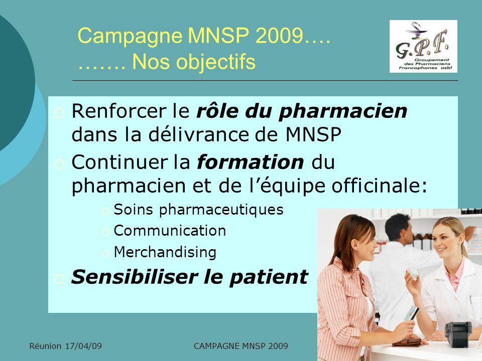 Réunion 17/04/09CAMPAGNE MNSP 2009 Campagne MNSP 2009…. ……. Nos objectifs Renforcer le rôle du pharmacien dans la délivrance de MNSP Continuer la form