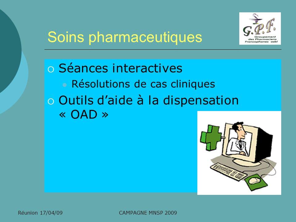 Réunion 17/04/09CAMPAGNE MNSP 2009 Ex de cas clinique Bonjour, cest pour des pastilles efficaces pour la gorge….