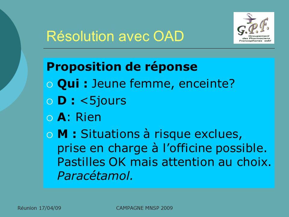 Réunion 17/04/09CAMPAGNE MNSP 2009 Résolution avec OAD Proposition de réponse Qui : Jeune femme, enceinte? D : <5jours A: Rien M : Situations à risque