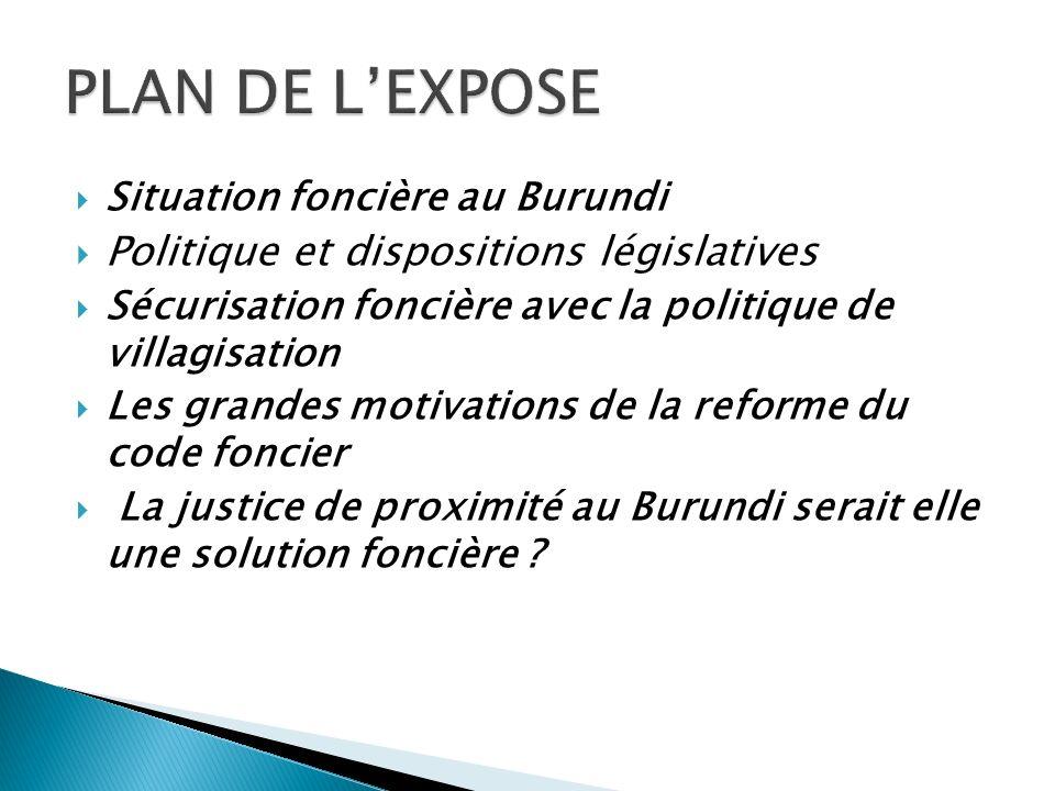 Situation foncière au Burundi Politique et dispositions législatives Sécurisation foncière avec la politique de villagisation Les grandes motivations