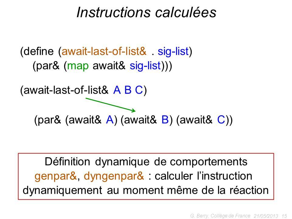 21/05/2013 15 G. Berry, Collège de France Instructions calculées (define (await-last-of-list&. sig-list) (par& (map await& sig-list))) (await-last-of-