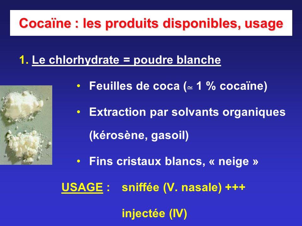 Cocaïne : les produits disponibles, usage 1. Le chlorhydrate = poudre blanche Feuilles de coca ( 1 % cocaïne) Extraction par solvants organiques (kéro