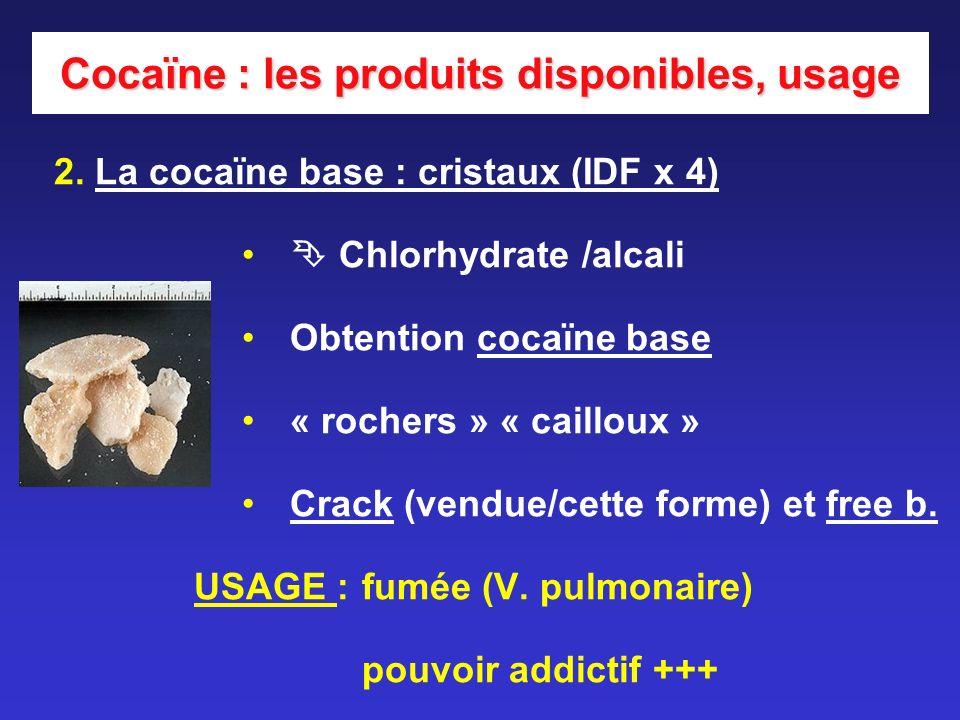 Cocaïne : les produits disponibles, usage 2. La cocaïne base : cristaux (IDF x 4) Chlorhydrate /alcali Obtention cocaïne base « rochers » « cailloux »