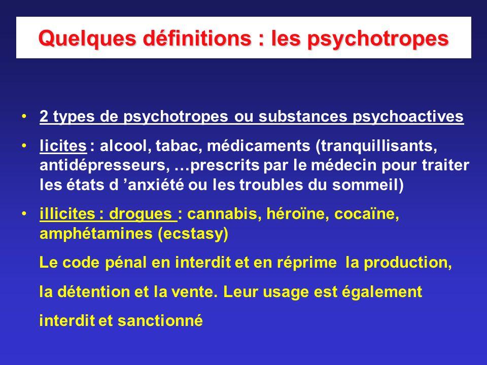 2 types de psychotropes ou substances psychoactives licites : alcool, tabac, médicaments (tranquillisants, antidépresseurs, …prescrits par le médecin
