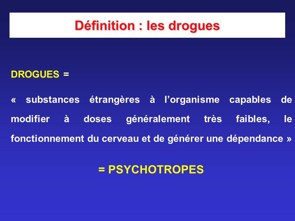 DROGUES = « substances étrangères à lorganisme capables de modifier à doses généralement très faibles, le fonctionnement du cerveau et de générer une
