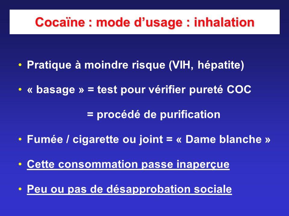 Pratique à moindre risque (VIH, hépatite) « basage » = test pour vérifier pureté COC = procédé de purification Fumée / cigarette ou joint = « Dame bla