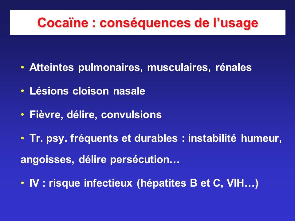 Cocaïne : conséquences de lusage Atteintes pulmonaires, musculaires, rénales Lésions cloison nasale Fièvre, délire, convulsions Tr. psy. fréquents et