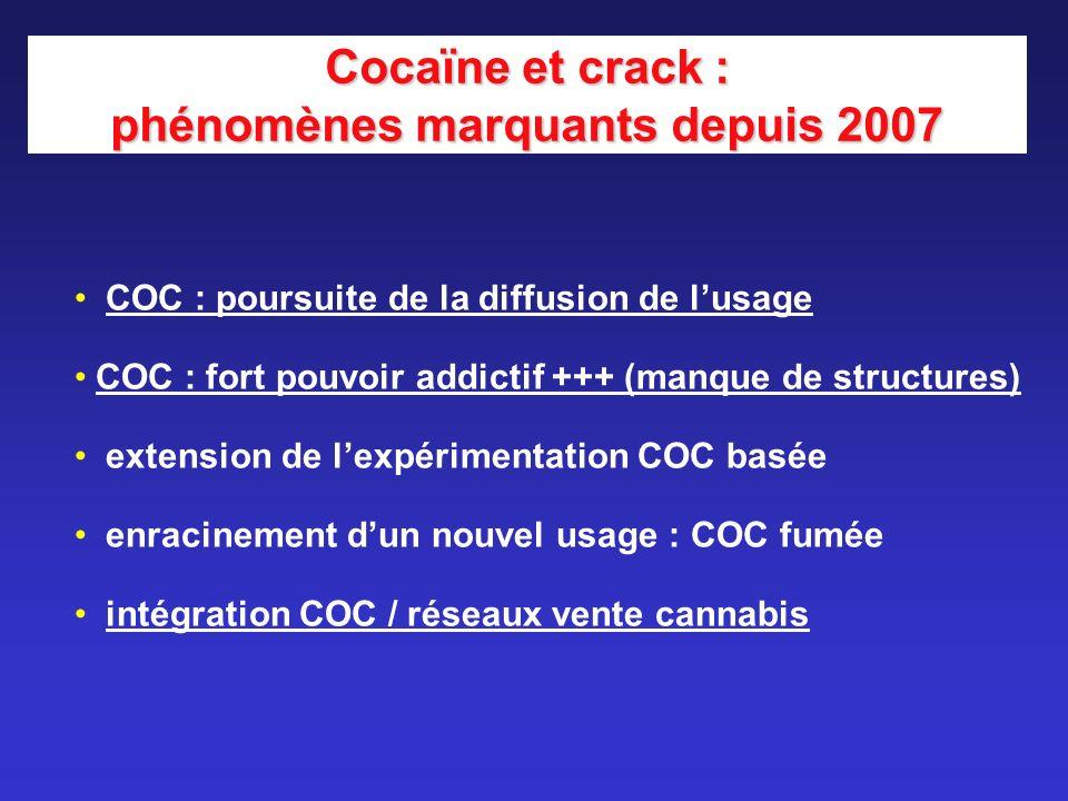 Cocaïne et crack : phénomènes marquants depuis 2007 COC : poursuite de la diffusion de lusage COC : fort pouvoir addictif +++ (manque de structures) e