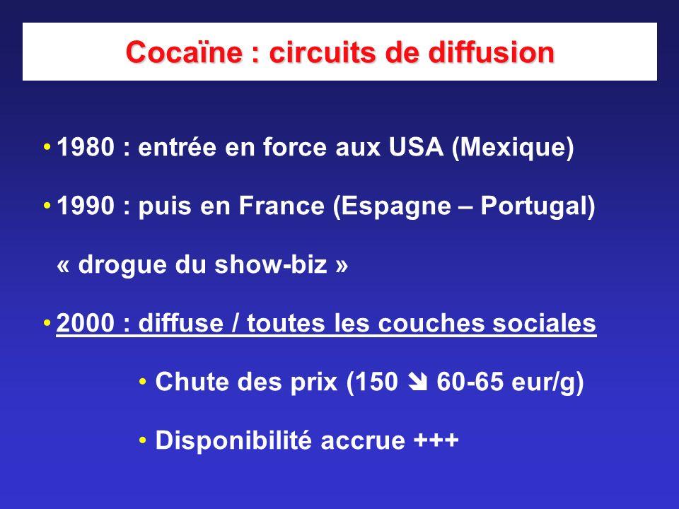 Cocaïne : circuits de diffusion 1980 : entrée en force aux USA (Mexique) 1990 : puis en France (Espagne – Portugal) « drogue du show-biz » 2000 : diff