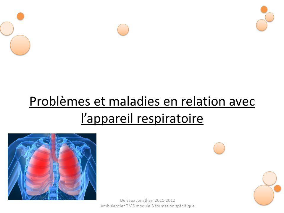 Delsaux Jonathan 2011-2012 Ambulancier TMS module 3 formation spécifique La fréquence respiratoire normale est de 15 cycles/min Prise de la fréquence respiratoire Bradypnée < 10 cycles respi / min Tachypnée > 20 cycles respi / min Dyspnée : difficultés respiratoires Polypnée : respiration trop rapide et superficielle Adulte : 15 à 20 respirations / minutes Enfant : 25 à 30 respirations / minutes Bébé : 35 à 40 respirations / minutes