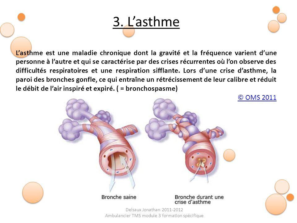 Delsaux Jonathan 2011-2012 Ambulancier TMS module 3 formation spécifique 3. Lasthme Lasthme est une maladie chronique dont la gravité et la fréquence