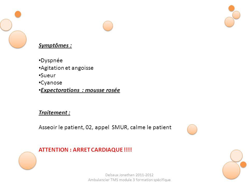 Delsaux Jonathan 2011-2012 Ambulancier TMS module 3 formation spécifique Symptômes : Dyspnée Agitation et angoisse Sueur Cyanose Expectorations : mous