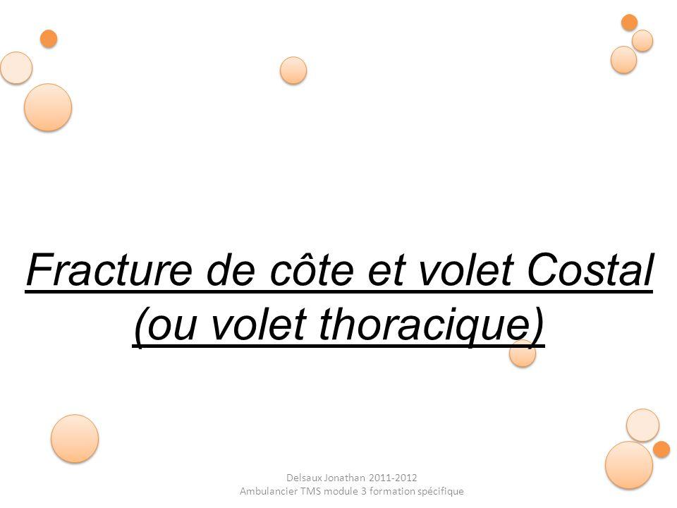 Delsaux Jonathan 2011-2012 Ambulancier TMS module 3 formation spécifique Fracture de côte et volet Costal (ou volet thoracique)