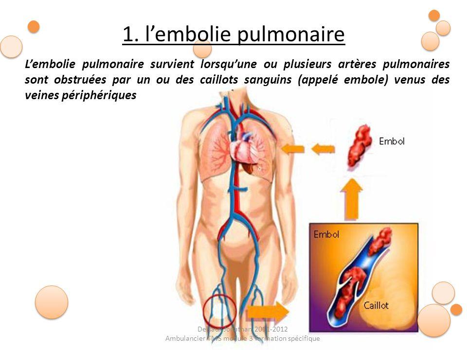 Delsaux Jonathan 2011-2012 Ambulancier TMS module 3 formation spécifique Causes de l embolie pulmonaire : Le plus souvent le point de départ de lembole qui va provoquer une embolie pulmonaire se trouve dans une veine thrombosée dune jambe.