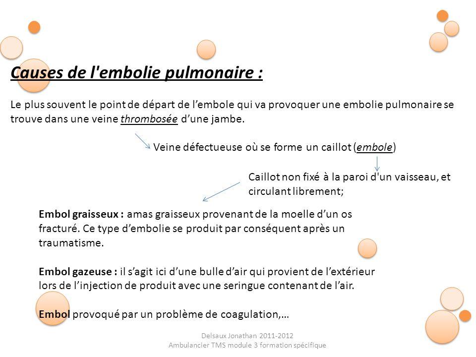 Delsaux Jonathan 2011-2012 Ambulancier TMS module 3 formation spécifique Causes de l'embolie pulmonaire : Le plus souvent le point de départ de lembol