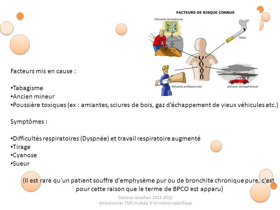 Delsaux Jonathan 2011-2012 Ambulancier TMS module 3 formation spécifique Facteurs mis en cause : Tabagisme Ancien mineur Poussière toxiques (ex : amia