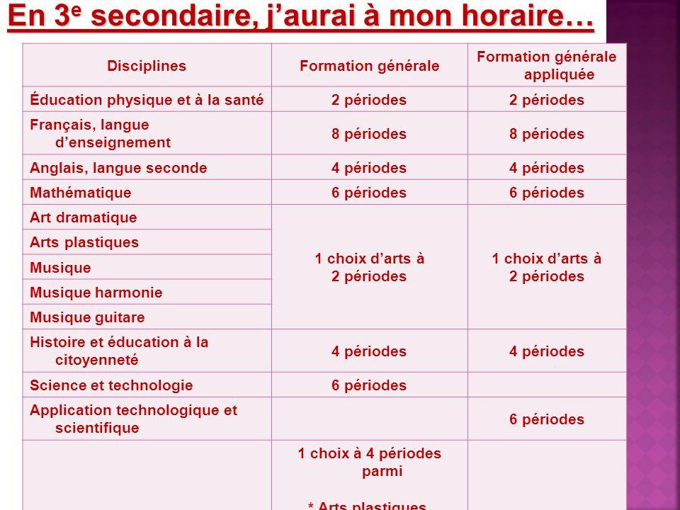 En 3 e secondaire, jaurai à mon horaire… DisciplinesFormation générale Formation générale appliquée Éducation physique et à la santé2 périodes Françai