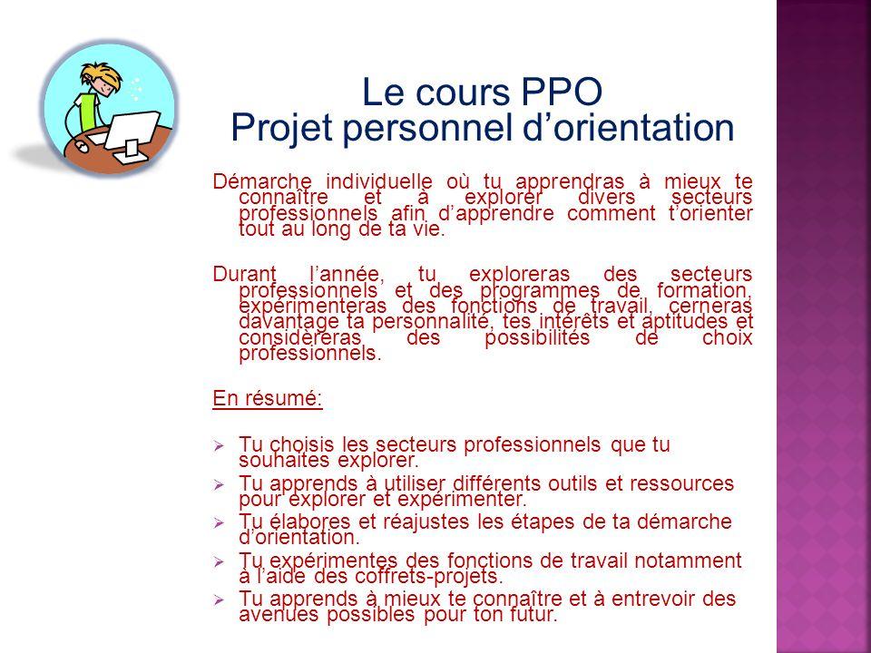 Le cours PPO Projet personnel dorientation Démarche individuelle où tu apprendras à mieux te connaître et à explorer divers secteurs professionnels af