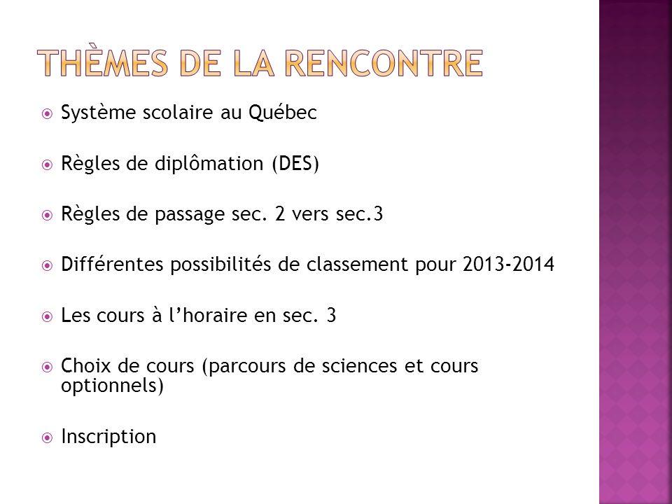 Système scolaire au Québec Règles de diplômation (DES) Règles de passage sec. 2 vers sec.3 Différentes possibilités de classement pour 2013-2014 Les c