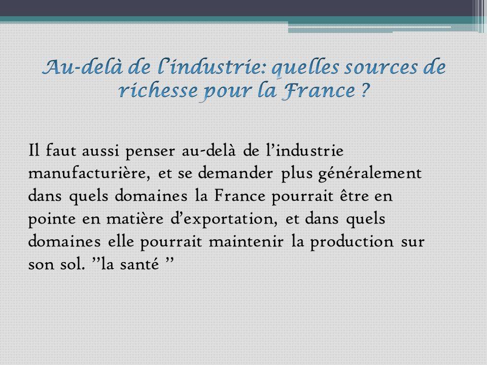 Il faut aussi penser au-delà de lindustrie manufacturière, et se demander plus généralement dans quels domaines la France pourrait être en pointe en matière dexportation, et dans quels domaines elle pourrait maintenir la production sur son sol.