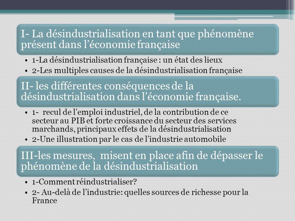 I- La désindustrialisation en tant que phénomène présent dans léconomie française 1-La désindustrialisation française : un état des lieux 2-Les multiples causes de la désindustrialisation française II- les différentes conséquences de la désindustrialisation dans léconomie française.