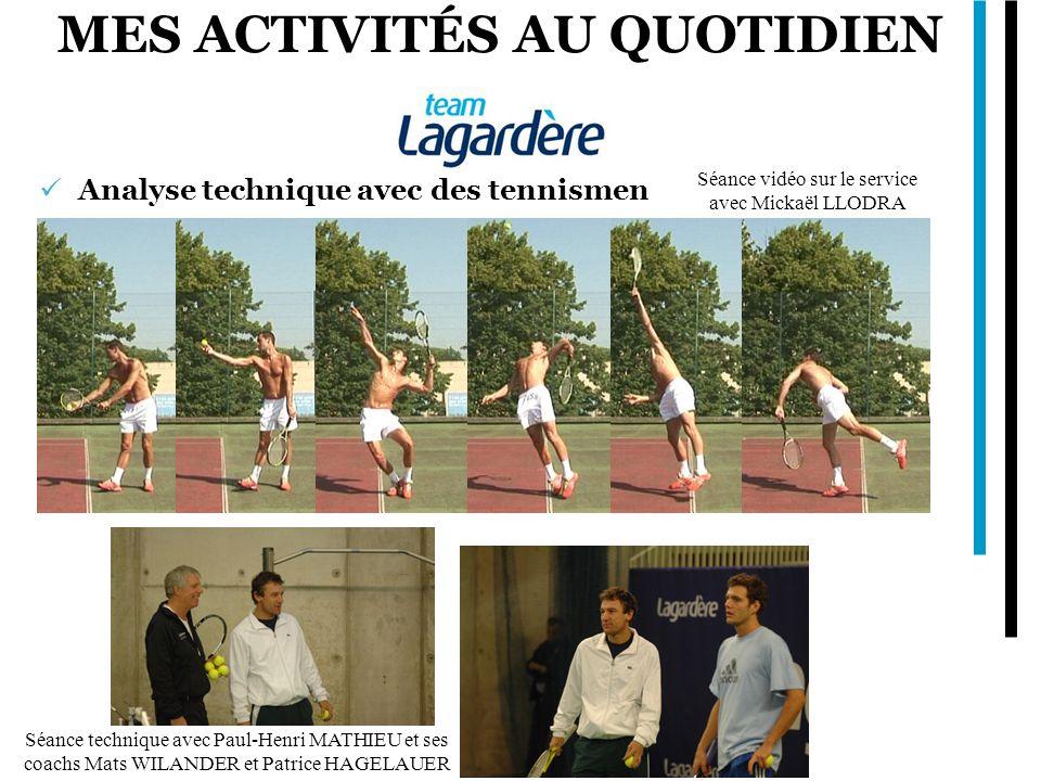 MES ACTIVITÉS AU QUOTIDIEN Analyse technique avec des tennismen Séance technique avec Paul-Henri MATHIEU et ses coachs Mats WILANDER et Patrice HAGELA