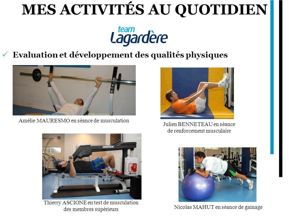 MES ACTIVITÉS AU QUOTIDIEN Evaluation et développement des qualités physiques Amélie MAURESMO en séance de musculation Thierry ASCIONE en test de musc