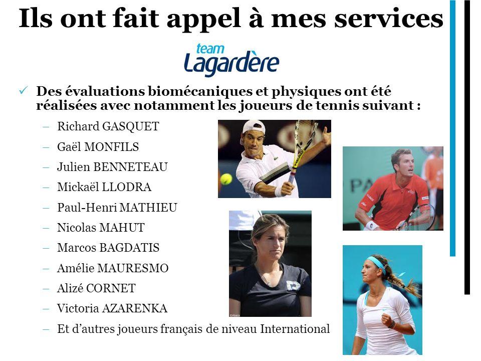 Ils ont fait appel à mes services Des évaluations biomécaniques et physiques ont été réalisées avec notamment les joueurs de tennis suivant : –Richard